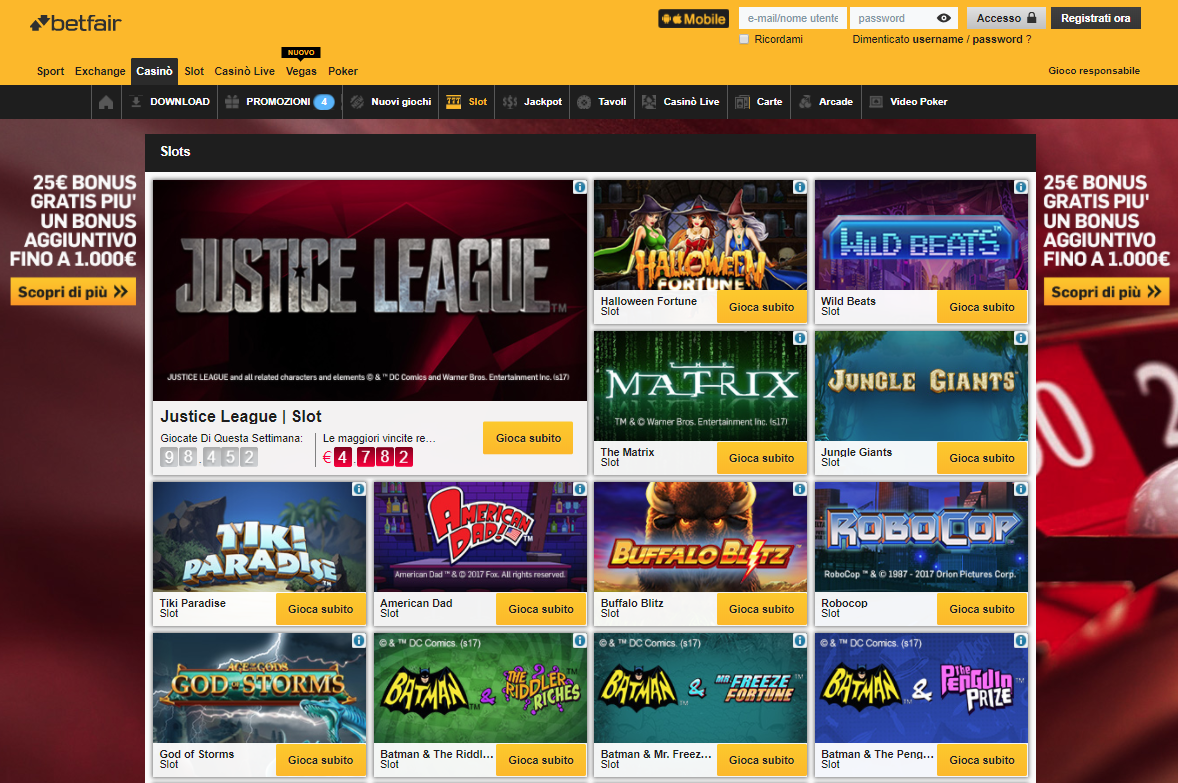 Betfair Casino Giochi Slot
